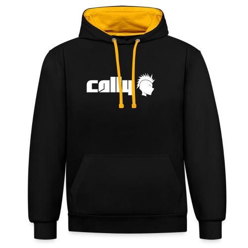 Cally White Logo - Contrast Colour Hoodie