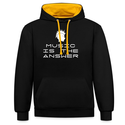 Mohawk Logo - Music is the Answer - Contrast Colour Hoodie