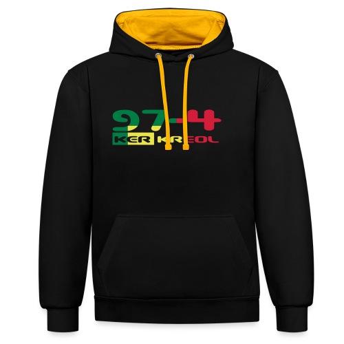 Logo 974 ker kreol VJR, rastafari - Sweat-shirt contraste