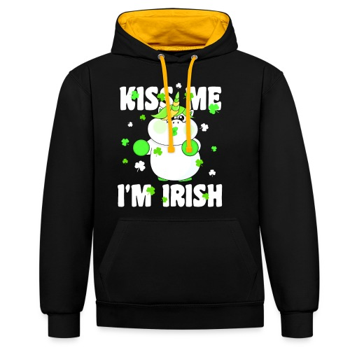 Kiss me I'm Irish Unicorn Einhorn - Kontrast-Hoodie