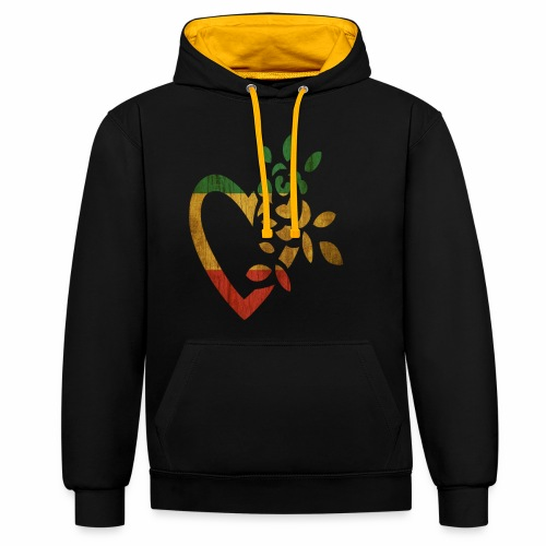 For the Love of Rasta - Contrast Colour Hoodie