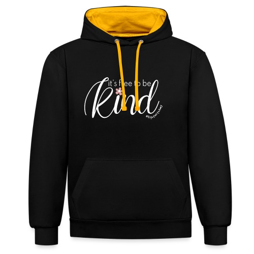Amy's 'Free to be Kind' design (white txt) - Contrast Colour Hoodie