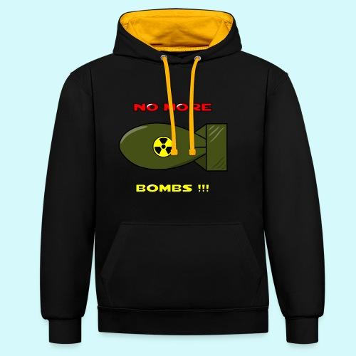 no more bombs - Stop Atom Bomben / Rackten - Kontrast-Hoodie