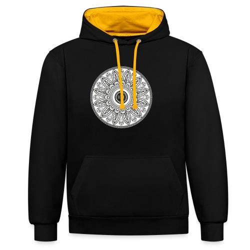 Mandala mit Schriftzug Love - Kontrast-Hoodie