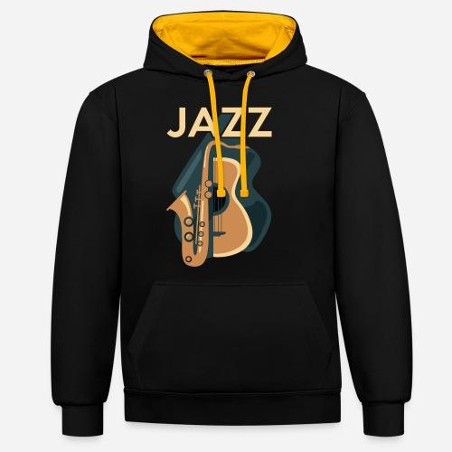 Jazz Gitarre mit Saxophon - Kontrast-Hoodie