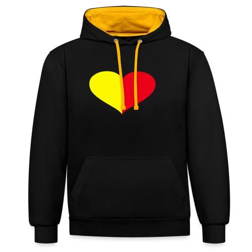 cuore giallorosso pieno - Felpa con cappuccio bicromatica