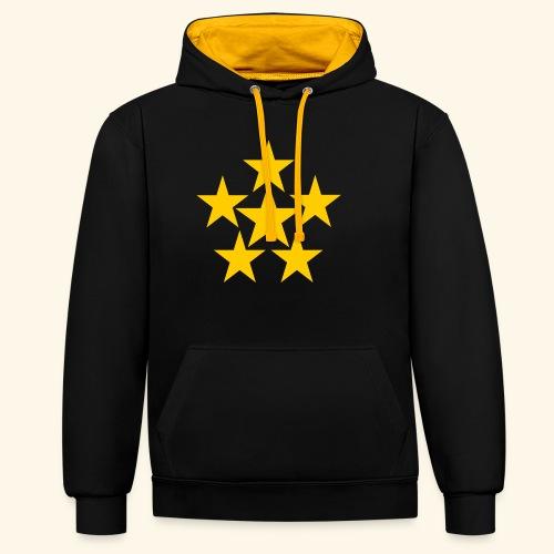 5 STERN gelb - Kontrast-Hoodie