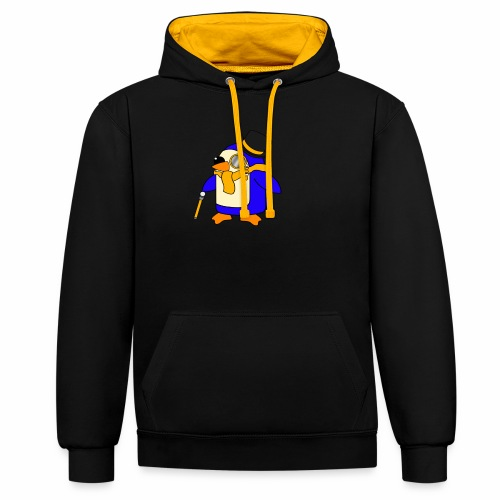 Cute Posh Sunny Yellow Penguin - Contrast Colour Hoodie