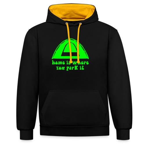 casa è dove campeggio verde hippie amore pace arte - Felpa con cappuccio bicromatica