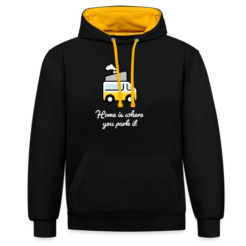 Home is where you park it - HELL - Kontrast-Hoodie