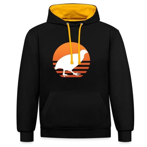 Retro Wachtel Geschenkidee Design Wachteln Logo - Kontrast-Hoodie
