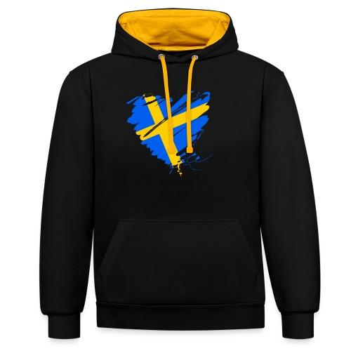 Schweden Skandinavien Europa Fahne Grunge Herz - Contrast Colour Hoodie