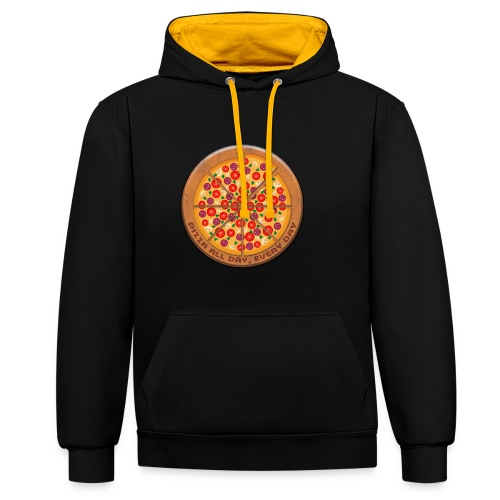 Pizza all day, every day - Contrast Colour Hoodie