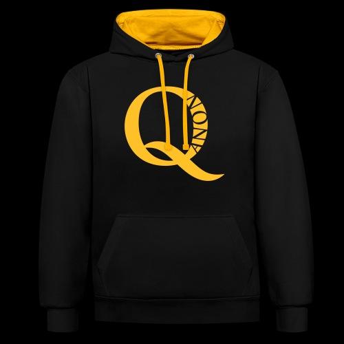 Q Anon Q-Anon Original Logo - Kontrast-Hoodie