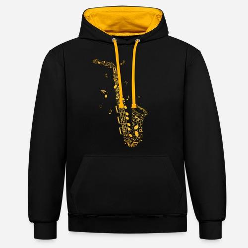 Goldenes Saxophon aus Musiknoten - Kontrast-Hoodie