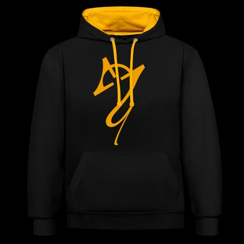 Overscoped logo yellow - Contrast Colour Hoodie