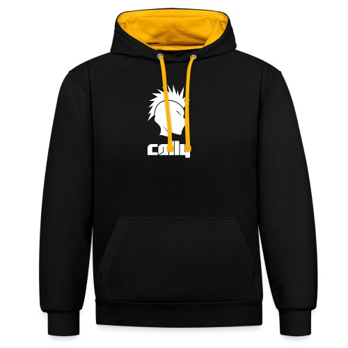 Cally Mohawk & Text Logo - Contrast Colour Hoodie
