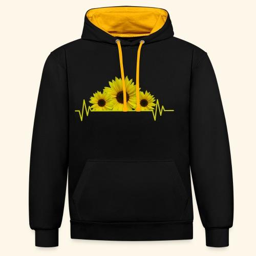 Sonnenblumen Herzschlag Sonnenblume Blumen Blüten - Kontrast-Hoodie