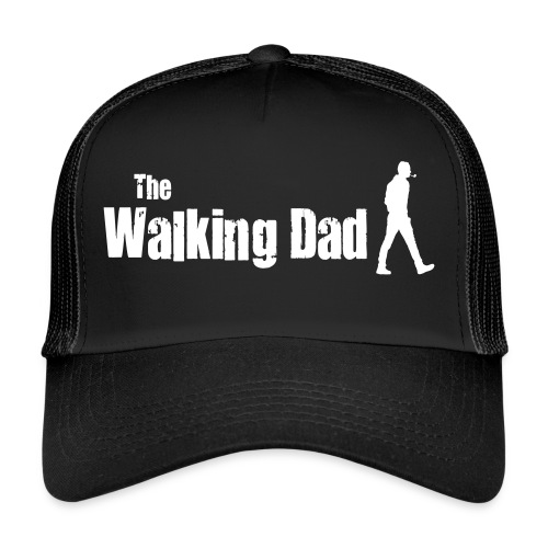 the walking dad white text on black - Trucker Cap