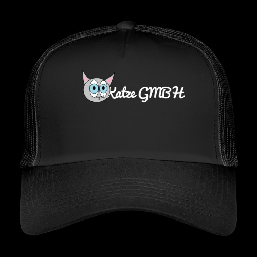 Katze GMBH Logo mit Schriftzug (Weiss auf dunkel) - Trucker Cap