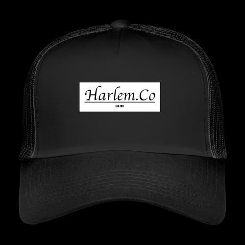 Harlem Co logo White and Black - Trucker Cap