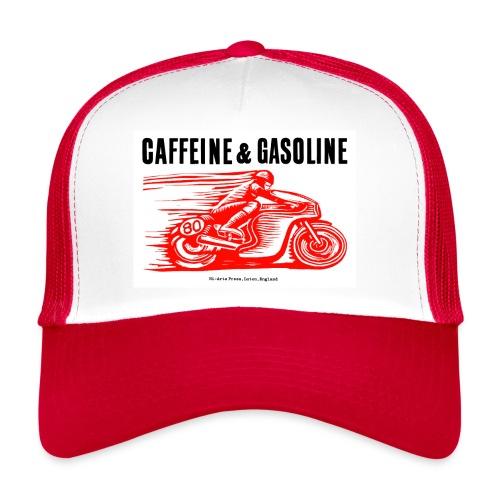 Caffeine & Gasoline black text - Trucker Cap