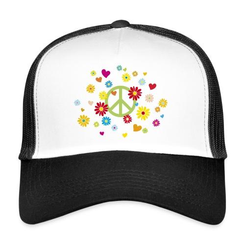 Peacezeichen Blumen Herz flower power Valentinstag - Trucker Cap
