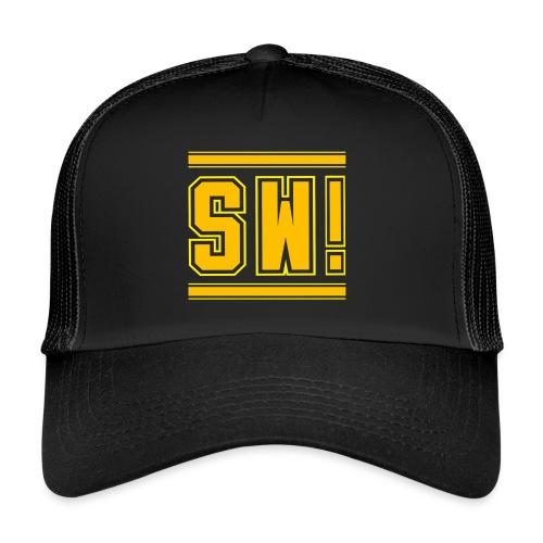 SUPER WANG!, Kontrast Hoodie, schwarz-gelb, mit Lo - Trucker Cap