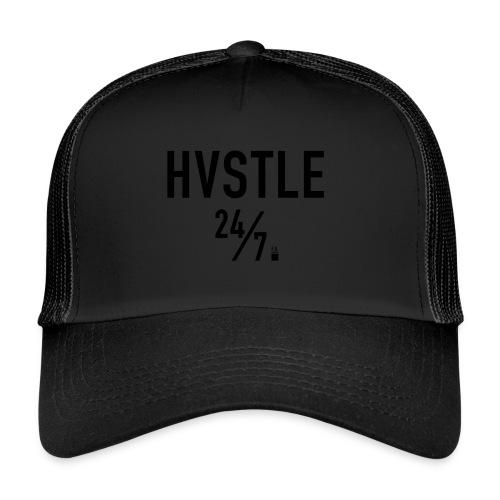 HVSTLE 24/7 Hoodie - Black Font - Trucker Cap