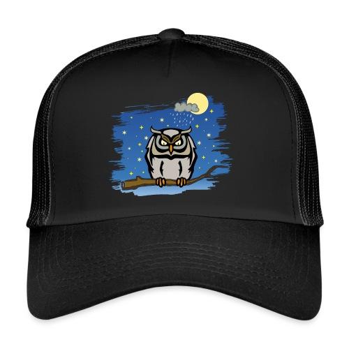 Eule Uhu Nachtschwärmer Vollmond Regenwolke Sterne - Trucker Cap