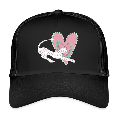 Vit katt rosa hjärta prickar - Trucker Cap