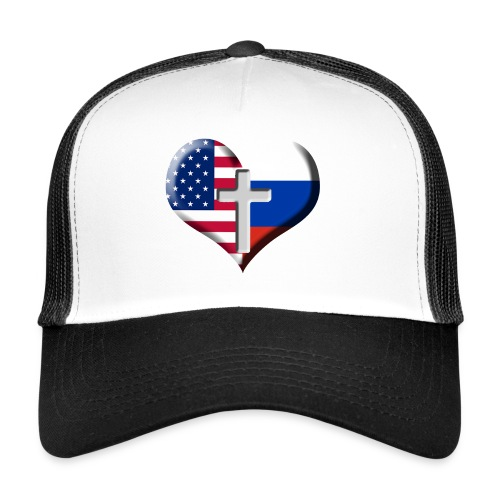 USA and Russia Heart with Cross - Trucker Cap
