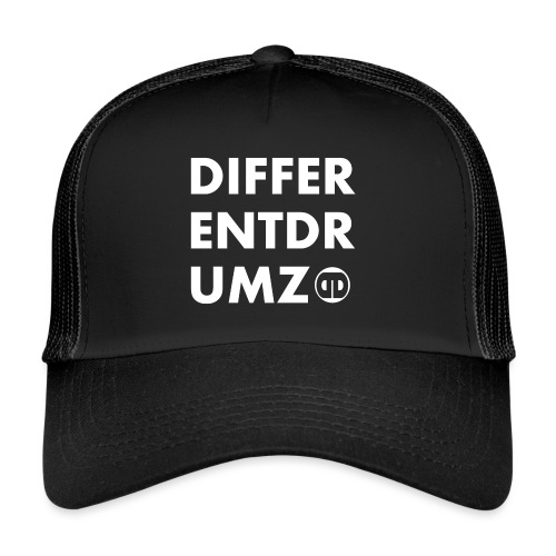 ddz words n logo white - Trucker Cap
