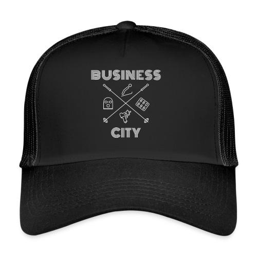 Business City - valkoinen painatus - Trucker Cap