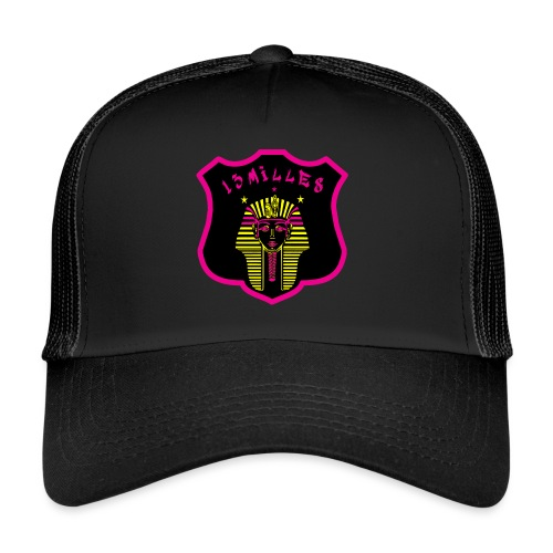 Pharaon Noir, Rose, Jaune hyper design - Trucker Cap