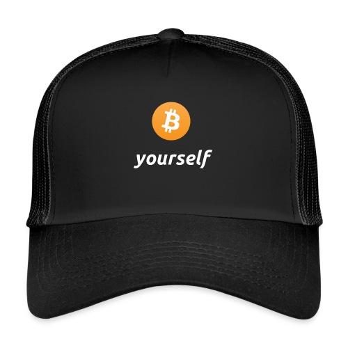 cryptocool b yourself white font -bitcoin logo - Trucker Cap