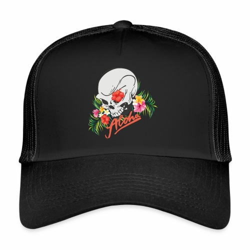 Hawaiian Skull Aloha Surfer Design - Trucker Cap