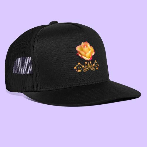 orange Rose, Ornament, Rosen, Blumen, Blüten, edel - Trucker Cap