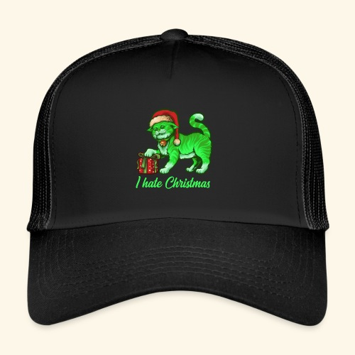 I hate Christmas giftig grüne Weihnachtsmann Katze - Trucker Cap