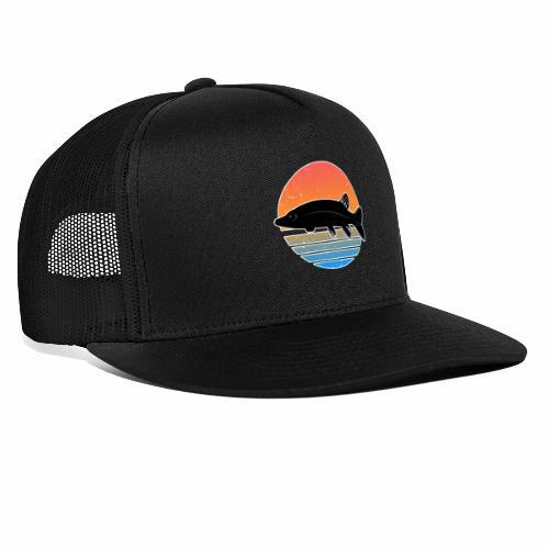 Retro Hecht Angeln Fisch Wurm Raubfisch Shirt - Trucker Cap