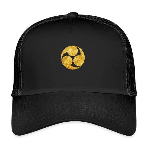 Kobayakawa Mon Japanese clan gold on black - Trucker Cap