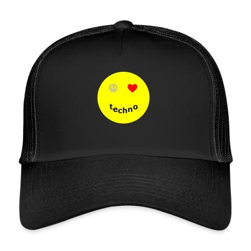 camiseta paz amor techno - Gorra de camionero