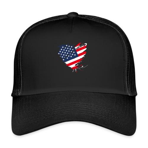 USA Amerika Sterne und Streifen Herz Grunge Flagge - Trucker Cap