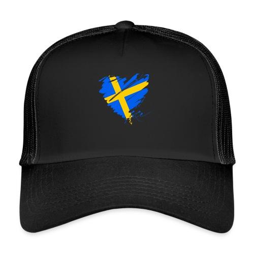 Schweden Skandinavien Europa Fahne Grunge Herz - Trucker Cap