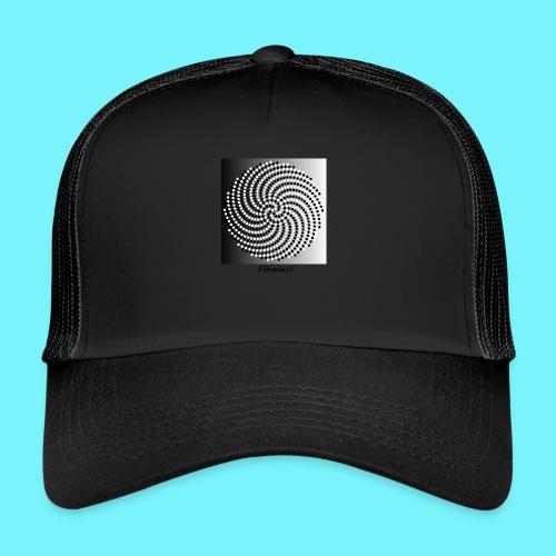 Fibonacci spiral pattern in black and white - Trucker Cap