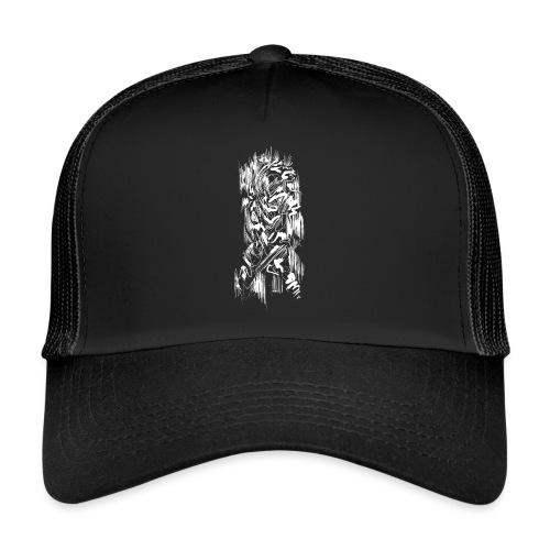 Samurai / White - Abstract Tatoo - Trucker Cap