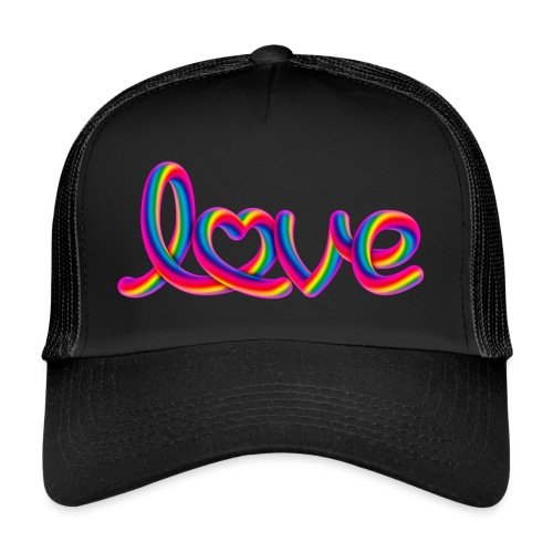 Rainbow love script with heart - Trucker Cap