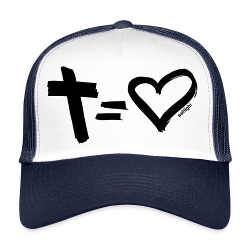 Cross = Heart BLACK // Cross = Love BLACK - Trucker Cap
