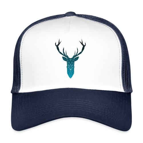 Hirsch blau im Triangel-Design - Trucker Cap