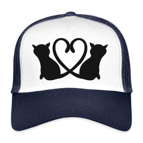 Katzen bilden ein Herz mit ihren Schwänzen - Trucker Cap